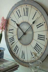 Landhaus Wanduhr XXL 60cm Shabby Chic French Antik