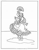 Spanish Flamenco Dancer Coloring Printable Pages Mr Adron sketch template