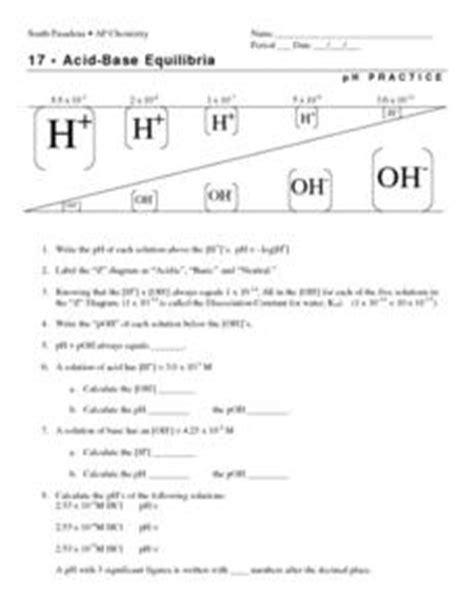 acid base equilibria ph practice worksheet for 11th 12th grade lesson planet