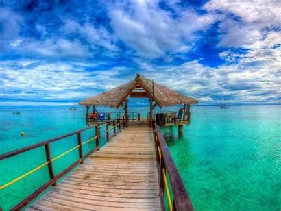 Islands Island Turquoise Fiji Ocean Wooden Platform