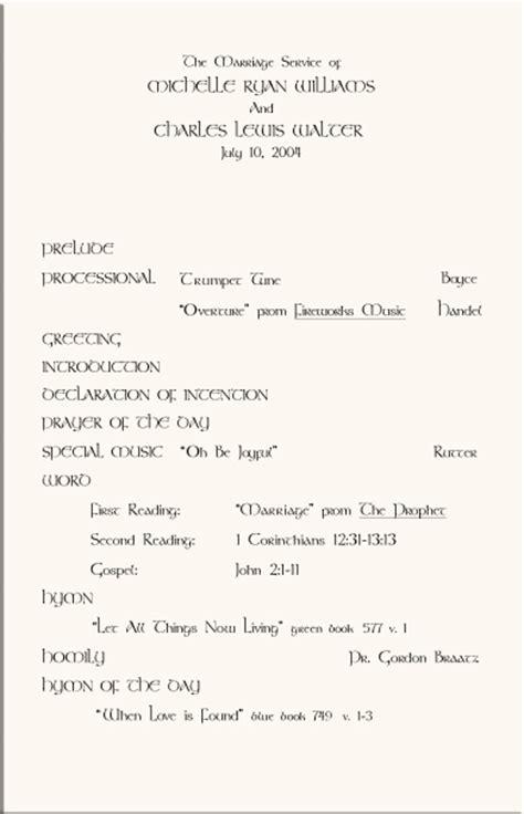 sample church programs order  service