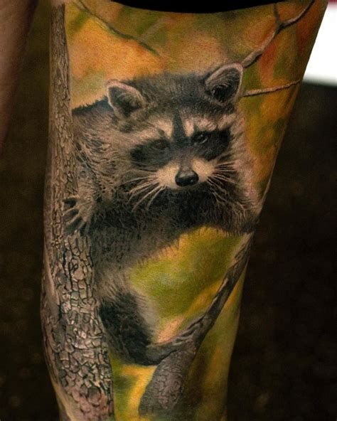 fluffy raccoon   tree  tattoo design ideas