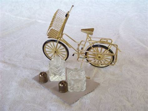 antique salt  pepper shakers   bicycle basket