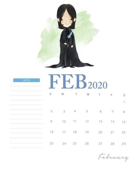 harry potter  monthly calendar