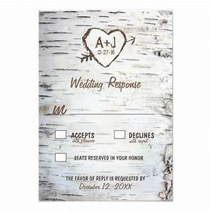 country rustic birch tree bark wedding rsvp cards 35quot x 5 With country wedding invitations with rsvp cards