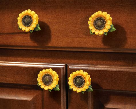 Sunflower Country Cabinet Drawer Pulls  Set Of 6, By