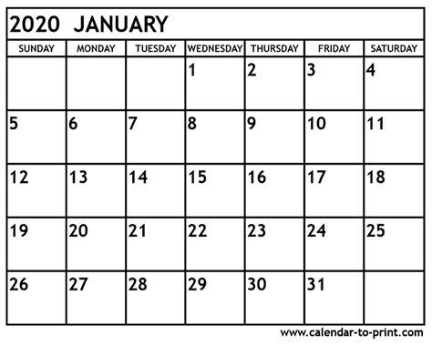 january calendar printable