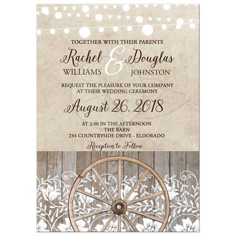 Country Wheel and Lace Western Barn Theme Wedding Invitation
