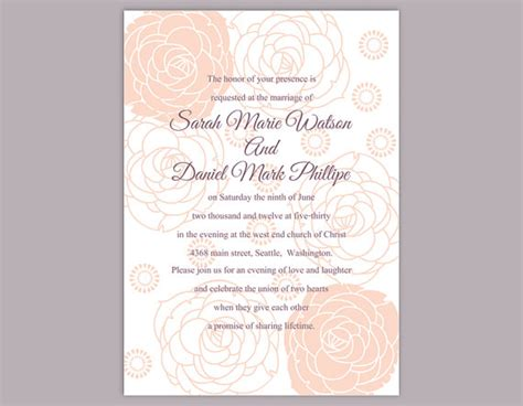 editable wedding invitation diy wedding invitation template editable word file instant printable floral invitation