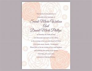 Diy wedding invitation template editable word file instant for Free printable and editable wedding invitations