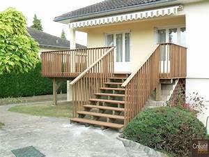 terrasse bois sur poteaux et escalier bois condat sur With escalier de terrasse exterieur