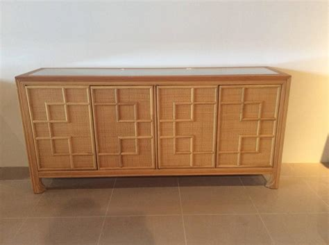Wicker Sideboard by Pencil Reed Bamboo Rattan Wicker Credenza Vintage Buffet