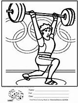 Coloring Weight Lifting Weights Olympic Activities Printable Crossfit Olympics Template Loss Exercise Cartoon Heart Healthy Crafts Kid Habits Children Craft sketch template