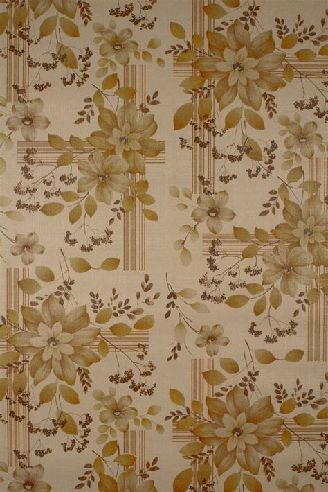 Seventies Floral Wallpaper With Stripes And Floral Pattern