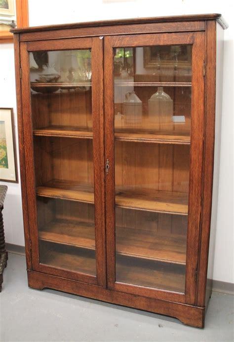 ithaca mission oak glass door bookcase sold