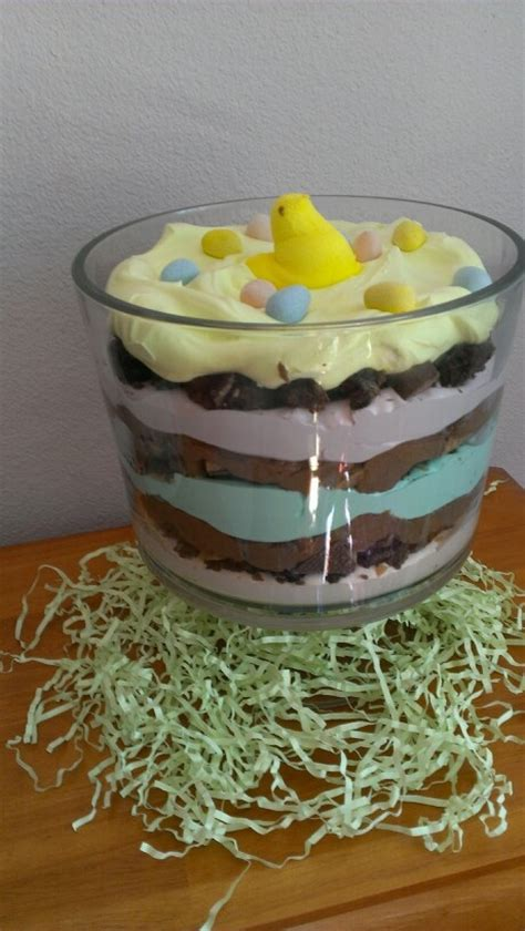 easter trifle easter trifle layers of colored cool whip brownie pieces pieces of heath bar and chocolate