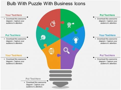 bulb  puzzle  business icons flat powerpoint