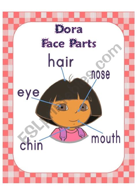 dora face parts poster esl worksheet  msamira