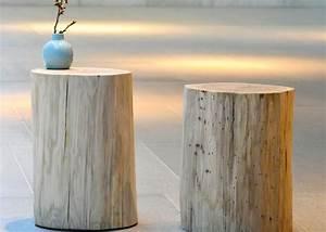 tronc d'arbre souche de bois forme table d'appoint ou chevet