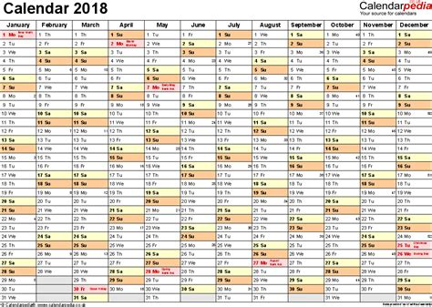 2018 calendar excel weekly calendar template
