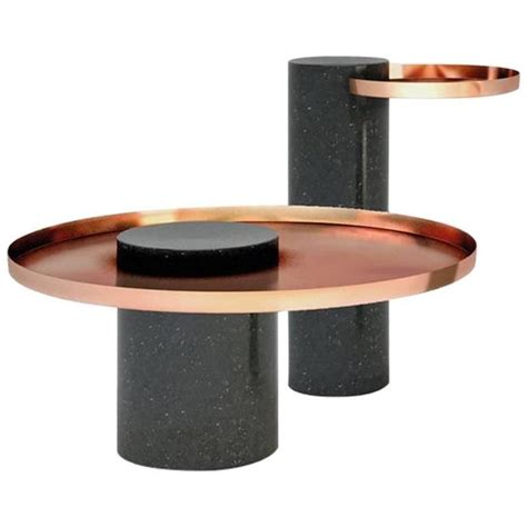 Low Salute Coffee Table Green Marble, Copper Tray For Sale