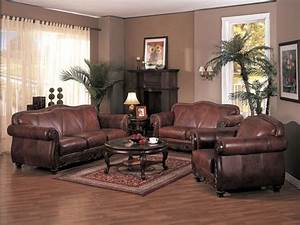 Living room decorating ideas with brown leather furniture for Living room leather furniture