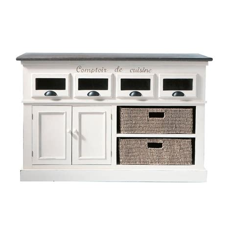 la cuisine des epices comptoir en bois de paulownia blanc l 130 cm comptoir des