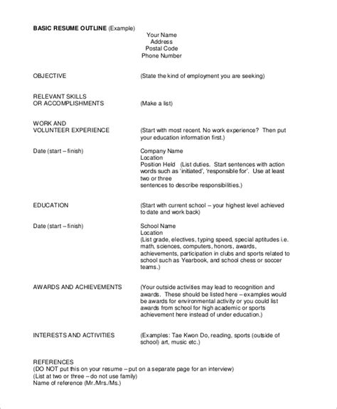 Outline Of Resume by Sle Resume Outline 8 Exles In Pdf