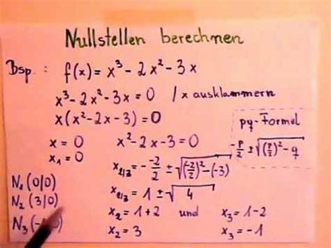 nullstellen berechnen funktion grades youtube