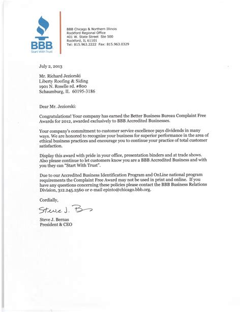 corporation bureau sle complaint letter to the better business bureau