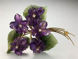 Vintage Bouquet of Violets Brooch - Diamonds, Amethyst ...