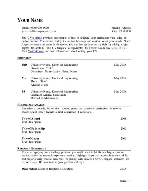 Cv Outline by Cv Template Outline