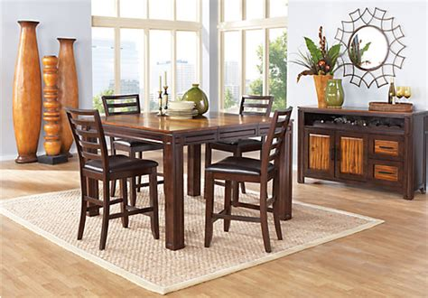 adelson chocolate brown  pc counter height dining room casual