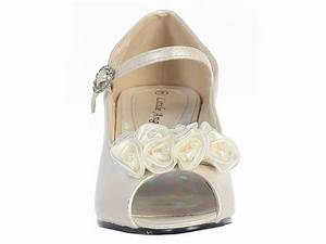 Euro To Us Shoe Size Chart Kids Ivory Peep Toe Dress Shoe W Satin Flowers