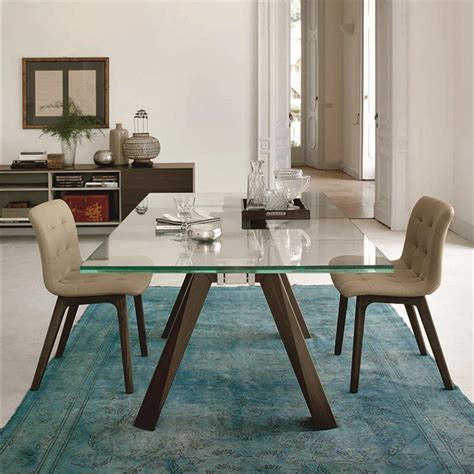 table en verre but table en verre design pieds bois bontempi casa sur cdc design