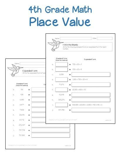 Printable Place Value Worksheets 4th Grade