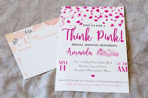 Think PINK ~ DIY Bridal Shower Invitations Life's Tidbits