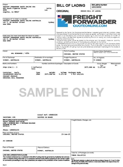 Maersk Line Bill Of Lading Tracking by The Gallery For Gt Maersk Bill Of Lading Sle