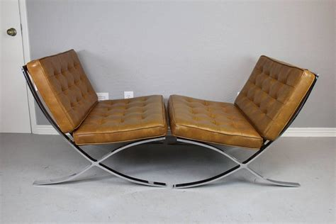 early barcelona style lounge chairs and ottoman for sale