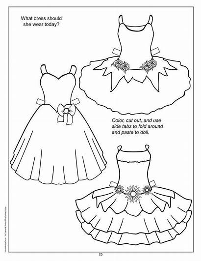 Clothes Coloring Doll Paper Dolls Pages Template