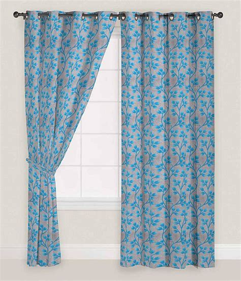 presto blue and gray floral polyester window curtain set
