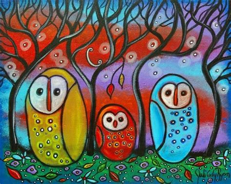 art the owl family from exhibit entries by artist juli