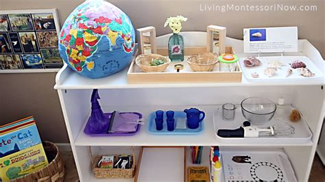 how to prepare a montessori home environment for 526 | Book Basket and Shelf with Practical Life Language and Cultural Activities