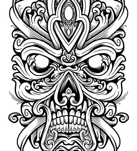 ornate skully mask contrast tank   tattoo