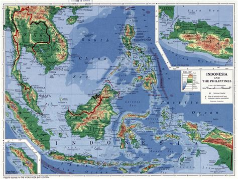 large detailed physical map  indonesia
