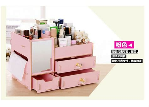 Rak Kosmetik Keropi jual rak kosmetik bahan kayu dilengkapi cermin desktop