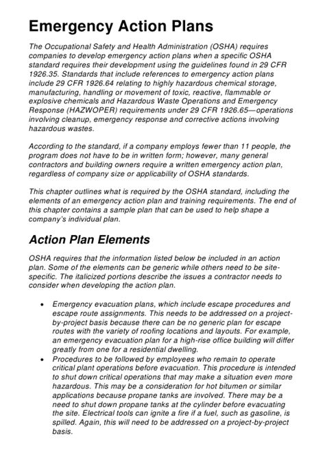 emergency action plan template  printable