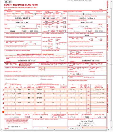 medicare 1500 form cms 1500 claim form sle templates resume exles