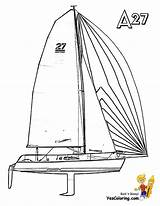 Boat Sailing Coloring Pages Catamaran Yacht Ship Boats Boys Yescoloring Template sketch template