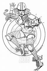 Roller Derby Coloring Skate Skates Skating Tattoo Outline Drawing Colouring Luna Coloriage Colorier Dessin Sheets Wham Skater Roulettes Roulette Ice sketch template